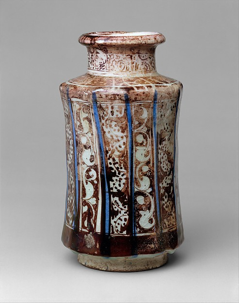 Jar, Stonepaste; painted in luster and blue on opaque white glaze under transparent colorless glaze