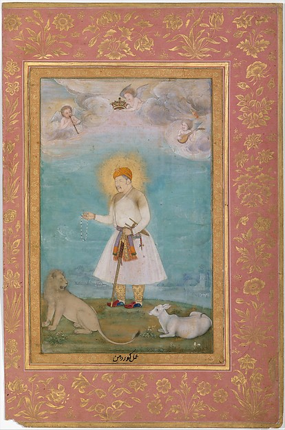 """Akbar With Lion and Calf"", Folio from the Shah Jahan Album, Painting by Govardhan (active ca. 1596–1645), Ink, opaque watercolor, and gold on paper"