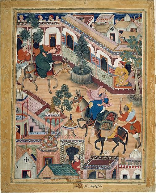 """The Spy Zambur Brings Mahiya to the City of Tawariq"", Folio from a Hamzanama (Book of Hamza), Attributed to Kesav Das (active ca. 1570–1604), Ink, opaque watercolor, and gold on cloth; mounted on paper"