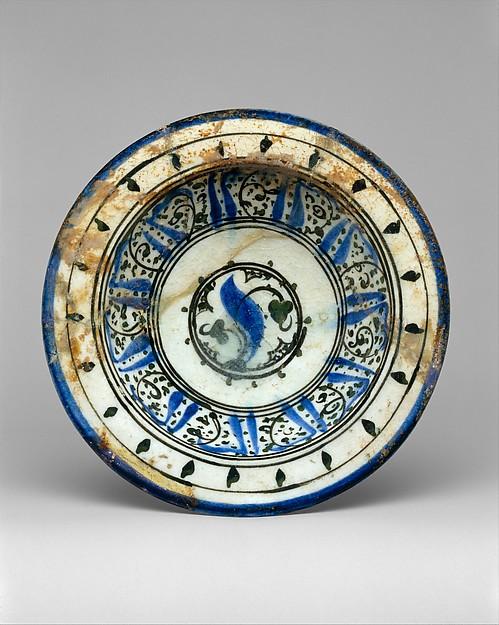 Bowl with Pseudo-inscription, Stonepaste; polychrome painted under a transparent glaze