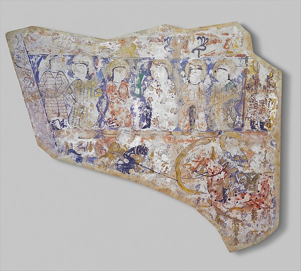 Fragment of Wall Painting with a Scene of Two Horsemen Slaying a Serpent, Gypsum plaster; painted
