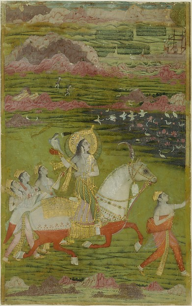 Chand Bibi Hawking with Attendants in a Landscape, Opaque watercolor, gold, and silver on card-weight paper