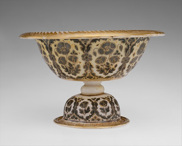 Footed Bowl and Plate, Glass, opalescent white; blown, bowl with applied stem and blown applied foot, fired silver and gold decoration