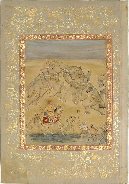 Jahangir Watching an Elephant Fight, Main support: Ink, opaque watercolor, gold on paper Margins: Gold on dyed paper