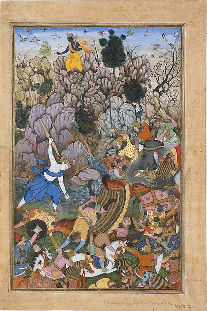 """""""Balarama and Krishna Fighting the Enemy"""", Folio from a Harivamsa (The Legend of Hari (Krishna)), Ink, opaque watercolor, and gold on paper"""