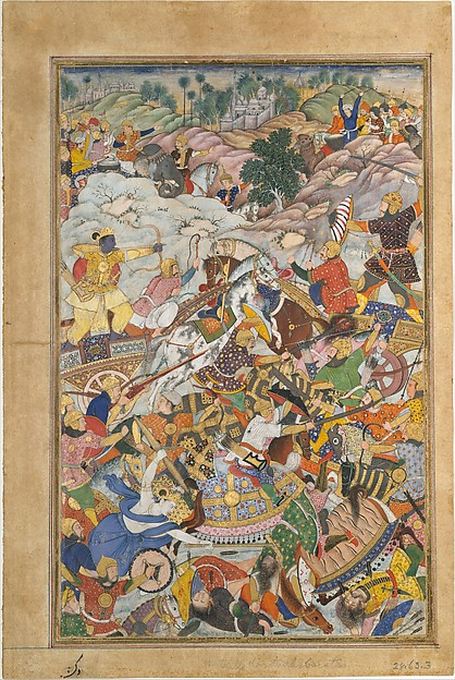 """Krishna and Balarma Fighting the Enemy"", Folio from a Harivamsa (The Legend of Hari (Krishna)), Ink, opaque watercolor, and gold on paper"