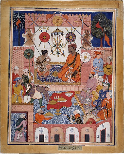 """Misbah the Grocer Brings the Spy Parran to his House"", Folio from a Hamzanama (The Adventures of Hamza), Attributed to Dasavanta, Ink, opaque watercolor, and gold on cloth; mounted on paper"