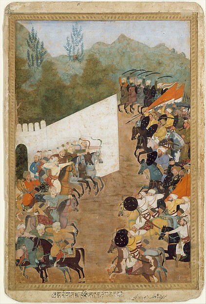 """The Battle of Shahbarghan"", Folio from a Padshahnama (Chronicle of the Emperor), Ink, opaque watercolor, and gold on paper"