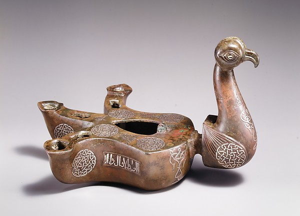 Bird-shaped oil lamp, Bronze; cast, engraved, inlaid with silver and copper