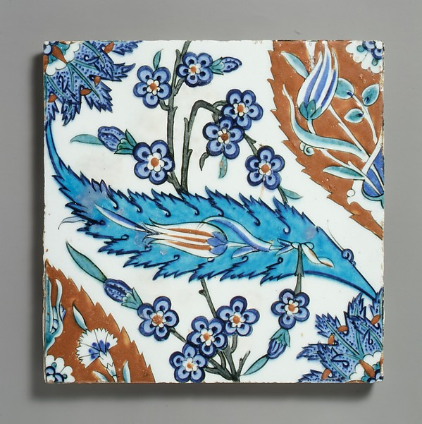 Tile with Saz Leave, Tulips, and Hyacinth Flowers, Stonepaste; polychrome painted under transparent glaze