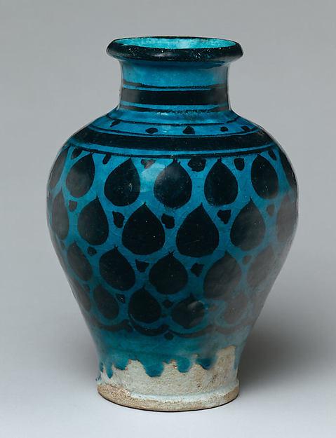 Jar, Stonepaste; painted under transparent turquoise glaze