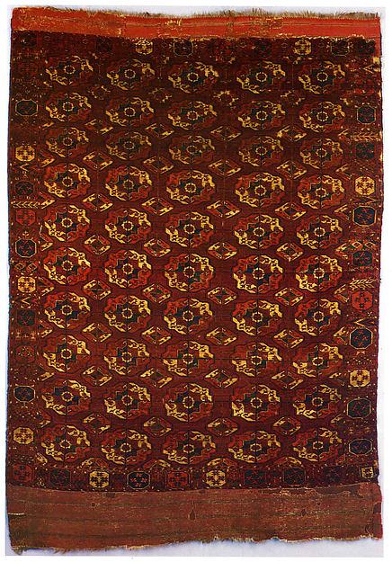 Tekke Main Carpet, Wool; asymmetrically knotted pile