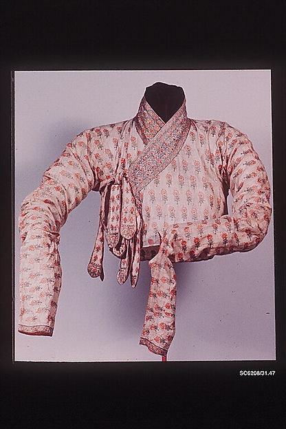 Fragment of a Robe, Cotton, silk; plain weave, embroidered