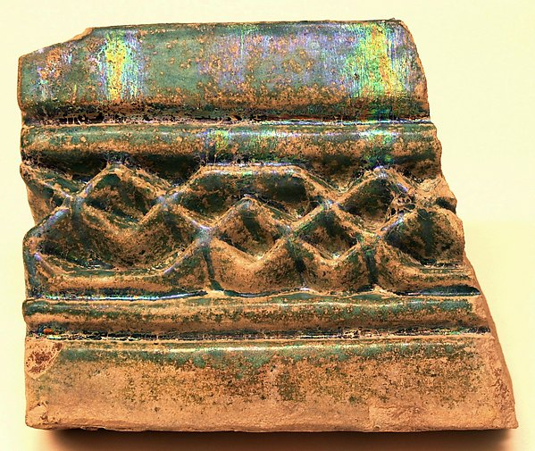 Fragment of a Tile, Earthenware; graffiato decoration under turquoise blue glaze
