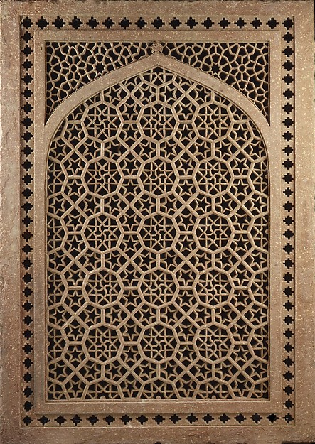Pierced Window Screen, Red sandstone; pierced, carved