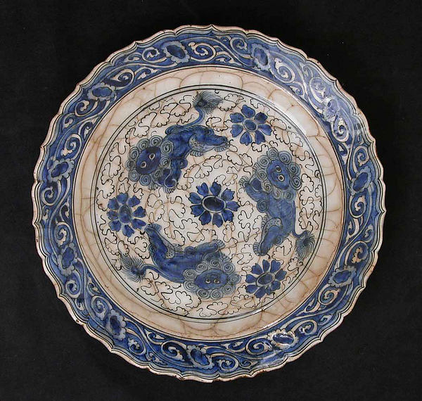 Dish with Three Lions, Stonepaste; polychrome painted under transparent glaze