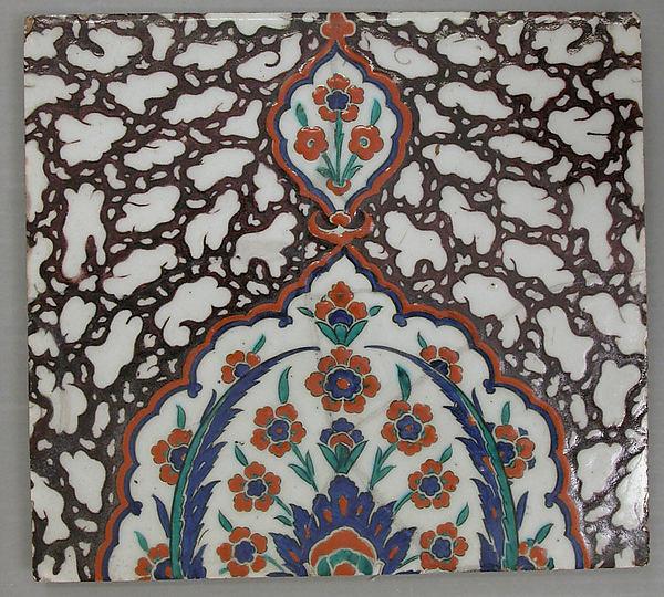 Tile with Floral Cartouche Design on Ebru (Marble Imitation Pattern) Background, Stonepaste; polychrome painted under transparent glaze