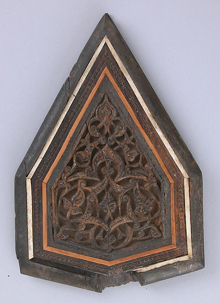 Panel from a Minbar, Wood; carved, inlaid with ivory and wood
