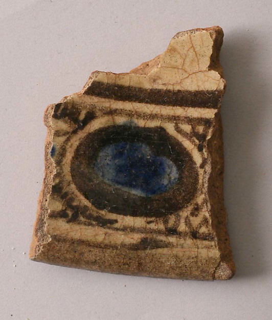 Fragment, Earthenware; painted blue and black under clear transparent glaze, white slip