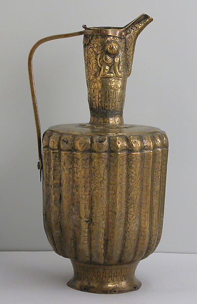 Ewer, Brass; fluted, engraved and repoussé, originally inlaid with silver