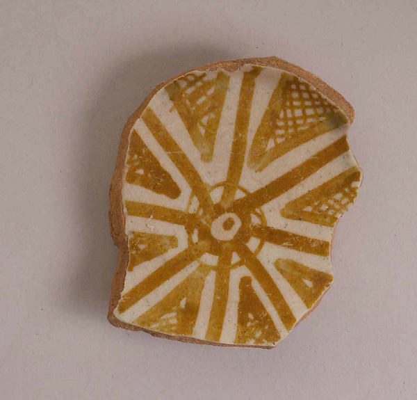 Fragment of a Bowl, Earthenware; luster-painted on opaque white glaze under transparent colorless glaze