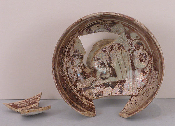 Bowl, Stonepaste; luster-and underglaze painted on an opaque white glaze under a transparent colorless glaze
