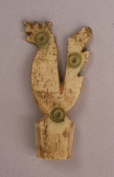 Ornament or Head of a Pin, Bone; incised and inlaid with paint