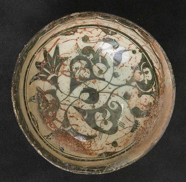 Bowl, Stonepaste; painted on an opaque white ground under transparent glaze