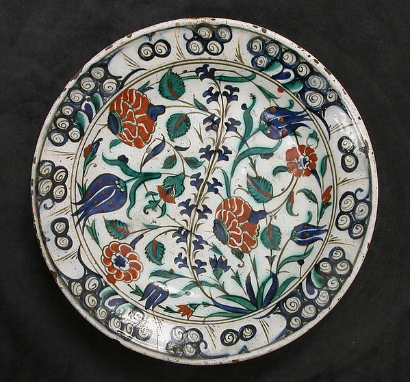 Dish, Stonepaste; painted and glazed