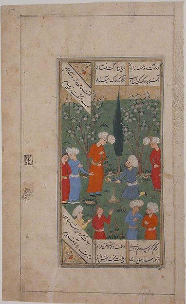 """A Scene of Lovers and their Friends in a Garden"", Folio from a Kulliyat (Complete Works) of Sa'di, Ink, opaque watercolor, and gold on paper"