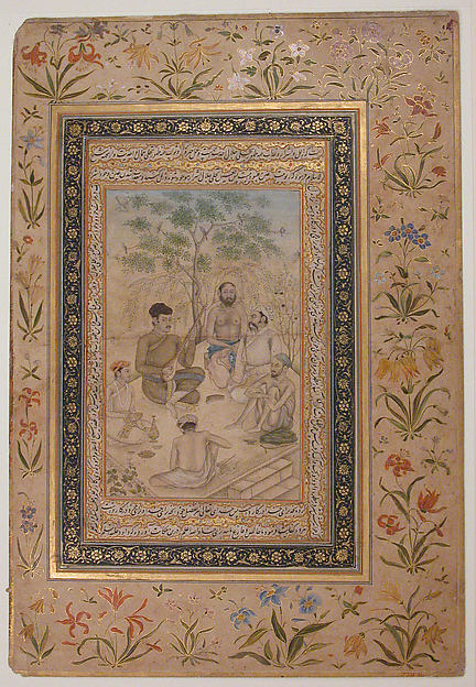 Visit to Holy Man by Prince Salim (Jahangir as a Youth?), Ink, opaque watercolor, and gold on paper