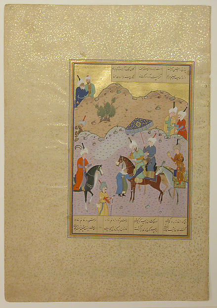 """Sultan Sanjar and the Old Woman"", Folio 17 from a Khamsa (Quintet) of Nizami, Nizami (Ilyas Abu Muhammad Nizam al-Din of Ganja) (probably 1141–1217), Ink, opaque watercolor, and gold on paper"