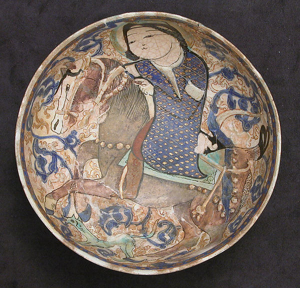 Bowl, Stonepaste; polychrome inglaze and overglaze painted and gilded on opaque white glaze (mina'i).