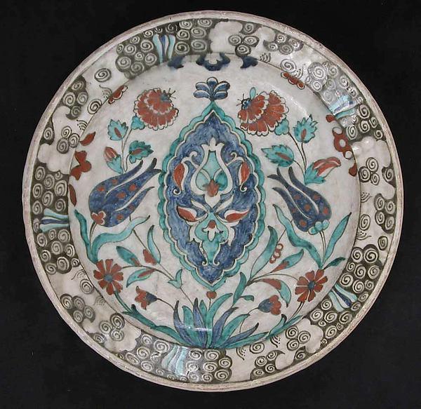 Dish, Stonepaste; painted and glazed