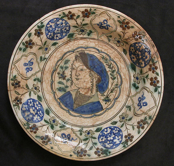 Dish Depicting a Woman Bust and Floral Decoration, Stonepaste; polychrome painted under a transparent glaze
