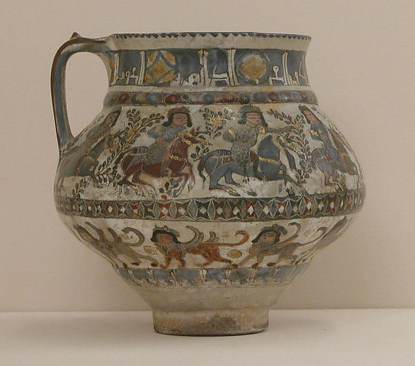 Ewer with Horsemen and Sphinxes, Stonepaste; polychrome inglaze and overglaze painted and gilded on opaque white glaze (mina'i).