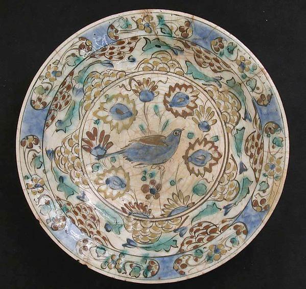 Dish, Stonepaste; polychrome and slip painted under a transparent glaze