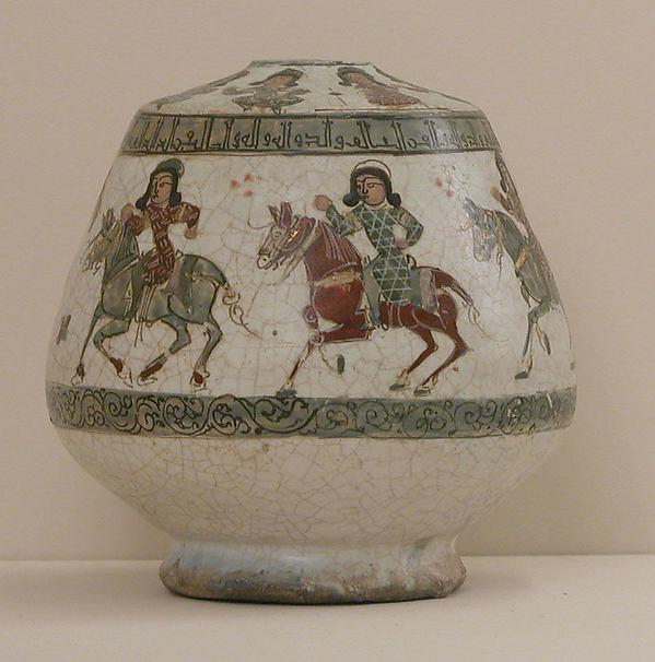 Fragmentary Bottle, Stonepaste; overglaze painted and gilded (mina'i)
