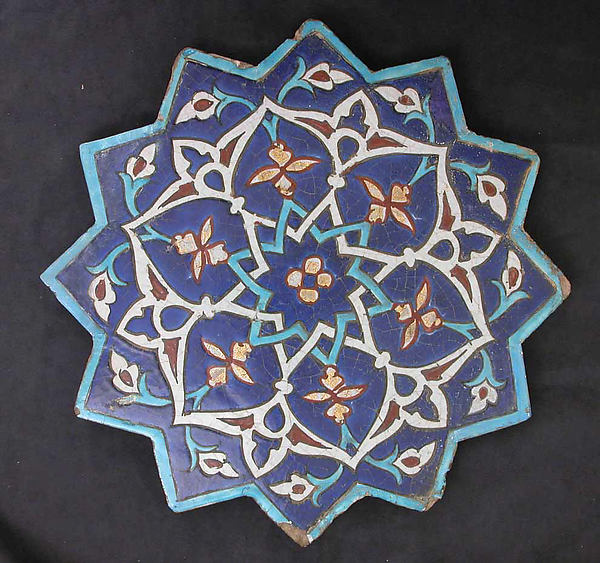 Twelve-Pointed Star-Shaped Tile, Stonepaste; polychrome glaze within black wax resist outlines (cuerda seca technique)