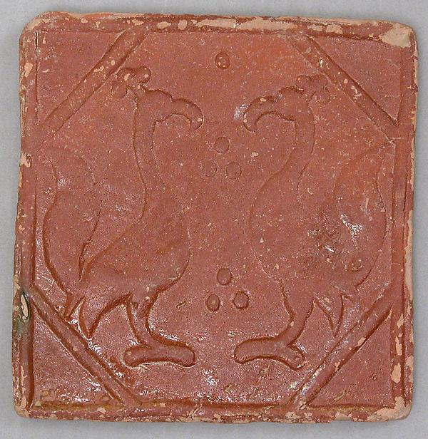 Square tile, Stonepaste; molded and monochrome glazed