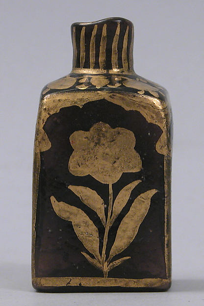 Bottle with Gilded Flowers, Glass, purple; mold blown, gilded