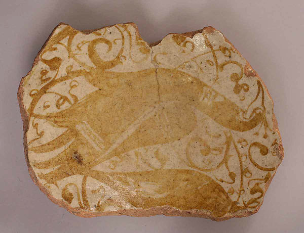 Fragment, Stonepaste; painted under transparent glaze