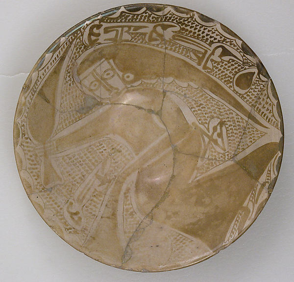 Dish, Earthenware; luster-painted on opaque white glaze