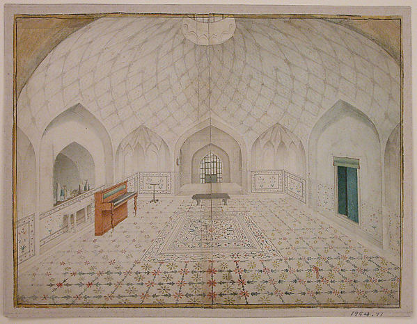 Interior of the Hammam at the Red Fort, Delhi, Furnished According to English Taste, Opaque watercolor on paper