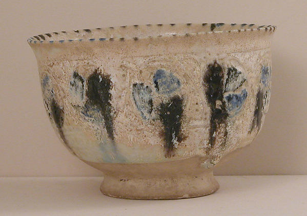 Bowl, Stonepaste; molded, pierced, painted, and glazed