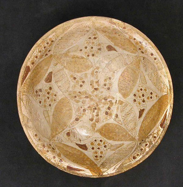 Bowl, Stonepaste; polychrome luster-painted on opaque white ground