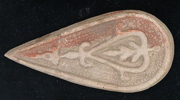 Bath Scraper, Earthenware; unglazed, molded in relief, painted red