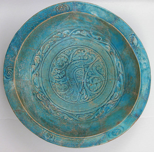Bowl, Stonepaste; carved and glazed