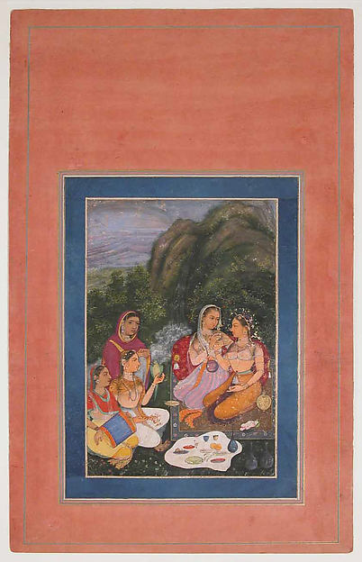 """""""Princess with Attendants Picnicking in the Open Air"""", Folio from the Davis Album, Ink, opaque watercolor, and gold on paper"""