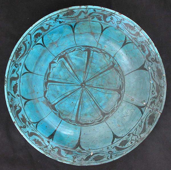 Dish, Stonepaste; painted in black under turquoise glaze